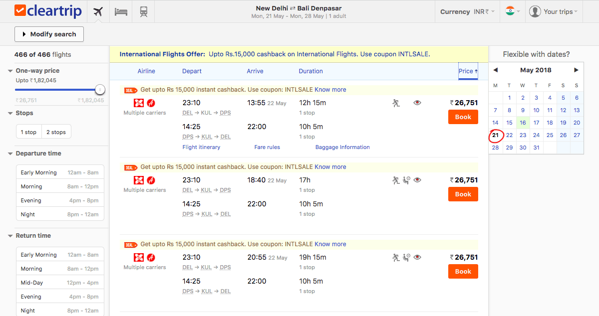 Image for Cleartrip Flight Booking Engine