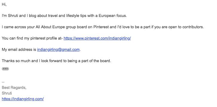 Pinterest group board email screenshot