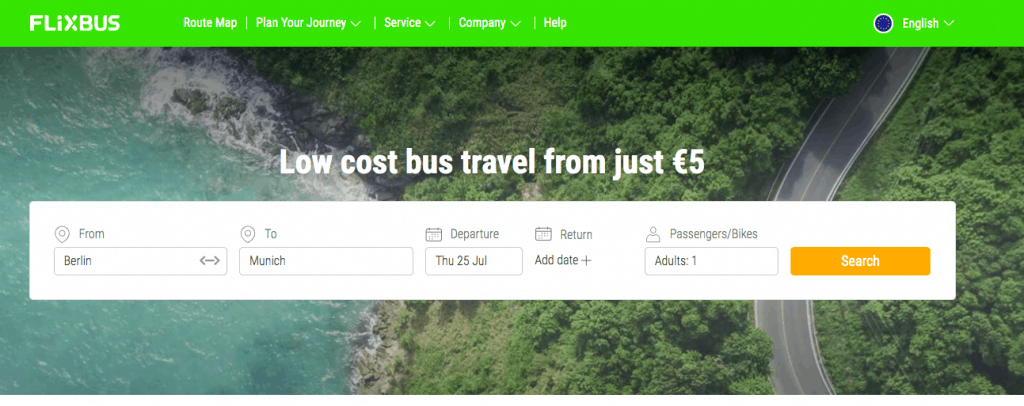 flixbus screenshot travel apps for Europe blog post