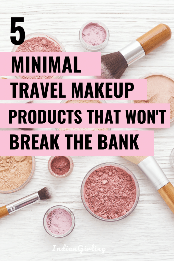minimal travel makeup products - pinterest image