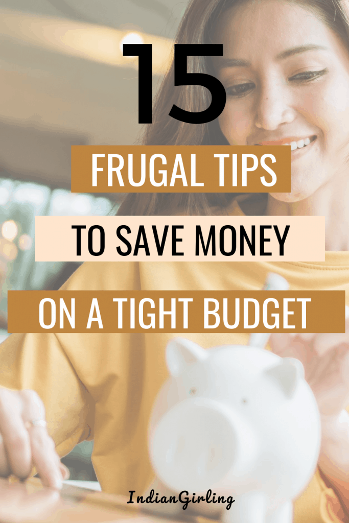 ways to save money on a budget , frugal living, pinterest image