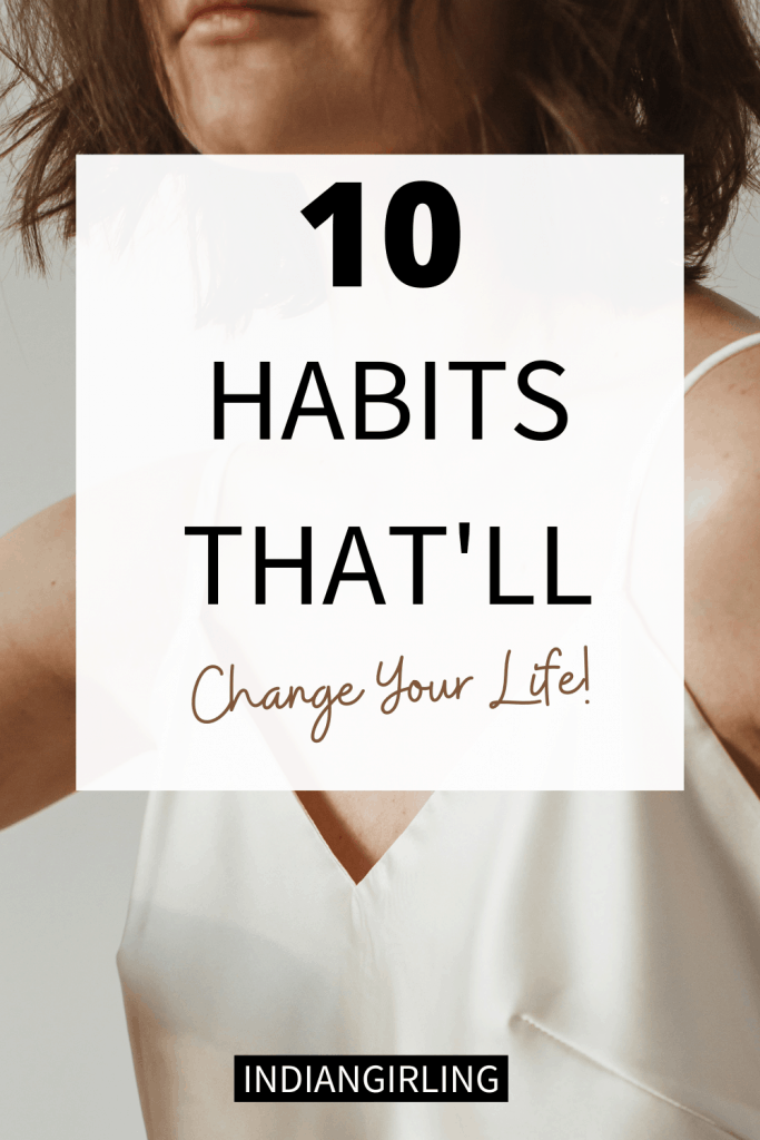 10 habits to improve your life - Pinterest image